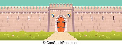 Medieval castle, town fortress wall cartoon vector
