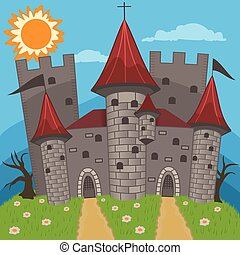 medieval castle vector illustration