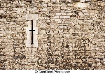 Medieval castle wall arrow slit background texture
