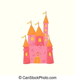 Medieval castle with flanking towers, wooden gate and flags on conical roof. Pink princess palace. Fairy tale building. Colorful flat vector design for book or postcard