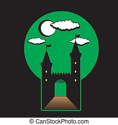 Medieval castle with towers and gates on black isolated background. Icon illustration. Vector image.