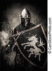 medieval, cavaleiro, contra, parede pedra