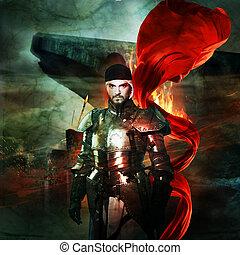 medieval, cavaleiro, em, armadura