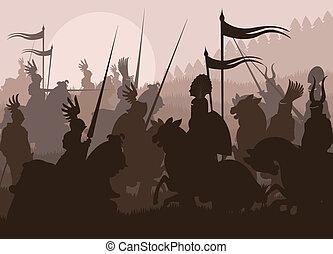 medieval, cavaleiros, em, batalha, vetorial, fundo