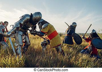 medieval, cavaleiros, grande, luta, batalha