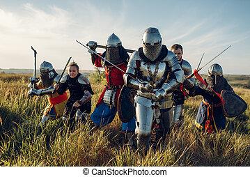medieval, cavaleiros, grande, torneio, luta