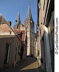 Medieval centre, Deventer Holland - Steep alley in Dutch...