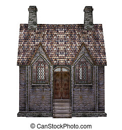 Medieval chapel, isolated on the white background