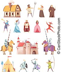 Medieval Characters Buildings Icons Set