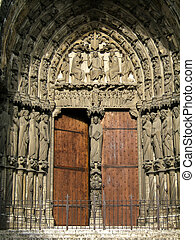 Medieval Church Door - Chartres cathedral (France) entrance...