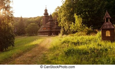 Medieval church in a forest.