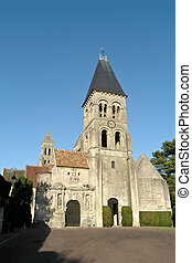 Medieval church in french province on shiny day