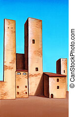 Medieval city - Medieval towers in San Gimignano, central ...