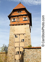 Medieval City of Dinkelsbuehl, Germany, with one of the defense towers