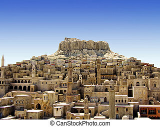 Old medieval Middle East city on the hill