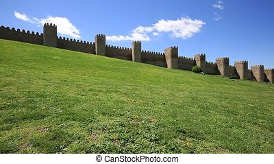 Medieval city wall built in the Romanesque style, Avila...