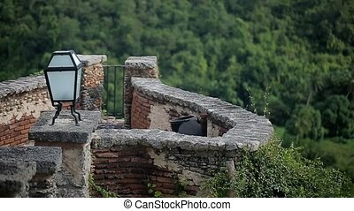 Medieval city wall on a mountain shot