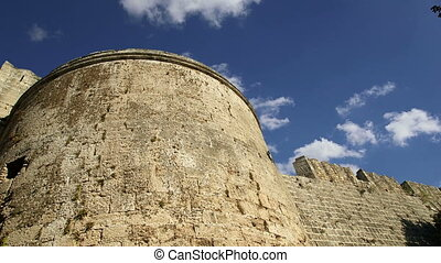Medieval city walls in Rhodes town