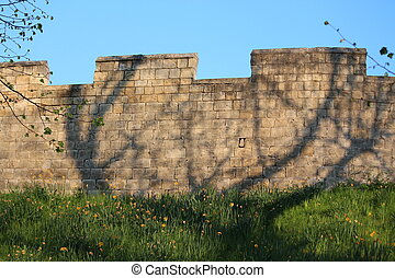 Medieval City Walls With Blossom. - Medieval city walls in ...