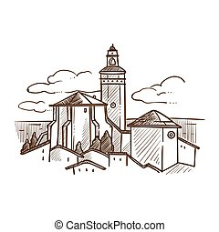 Medieval city with buildings and nature vector illustration...