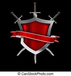 medieval, clavado, protector, con, cinta roja, y, swords.