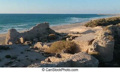medieval coastal fort archaeological site in Ashdod shot...