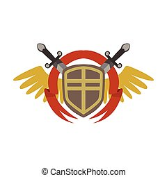Medieval coat of arms with crossed swords and wings, colorful vector Illustration