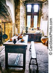 medieval, cocina, en, viejo, castillo