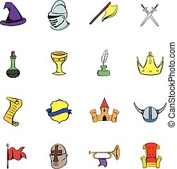 Medieval comics icons set cartoon