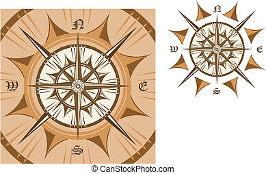 Medieval compass isolated on white background for travel...