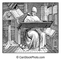 Medieval copyist, vintage engraving - Medieval monk copying...