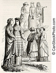 Medieval costumes of noblewomen and bourgeois. Created by Mifliez, published on Magasin Pittoresque, Paris, 1844
