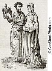 Medieval costumes sexies - Medieval nobleman and noblewoman...