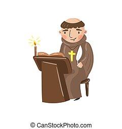 medieval, crónica, carácter, monje, ilustración, escritura, contemporáneo, vector, acontecimientos, escriba, caricatura