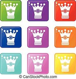 Medieval crown icons 9 set