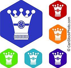 Medieval crown icons set hexagon