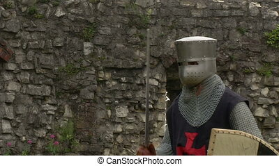 medieval crusader fighting