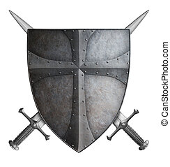 medieval crusader shield and two crossed swords isolated 3d illustration