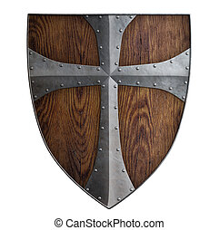 medieval crusader wooden shield isolated