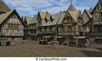 medieval, cuadrado pueblo
