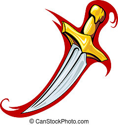 Medieval dagger in cartoon style for tattoo design