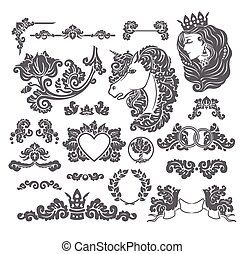 Vector vignettes set in Medieval decorative style - elements for wedding decoration design