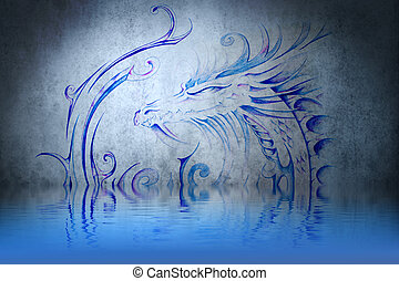 Medieval dragon tattoo on blue wall with water reflections