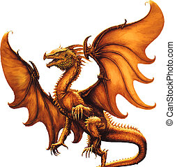 Medieval dragon. Vector - Flying dragon on a white...