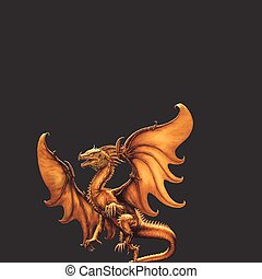 Medieval dragon. Vector - Medieval dragon on a black...
