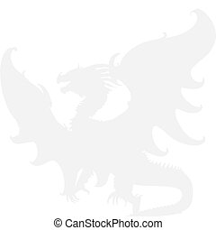 Medieval dragon. Vector - The grey silhouette of dragon on a...