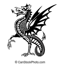 Vintage medieval dragon drawing