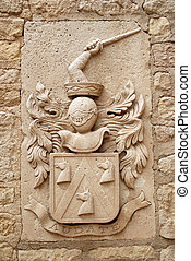 Medieval emblem in the Castle of Santa Bárbara, Alicante...