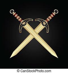 medieval, espadas, aislado, dos