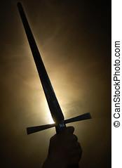 medieval, espanhol, espada, silueta, em, backlighting